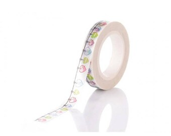 Roll of 10 m masking tape Garland of hearts 8mm