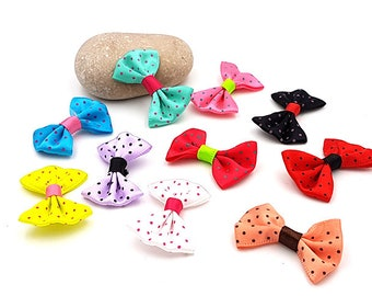 50 mini Satines multicolor polka dot bows
