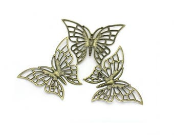 10 Butterfly Bronze filigree 6.1x4.7cm prints