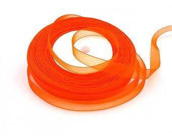 45 m organza Ribbon 10mm dark orange