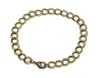 12 bracelets 20cm double chain Bronze