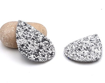 10 charms faux leather sequins silver glitter colored shape drop 55mm