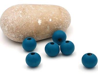 100 wood beads 10mm peacock blue