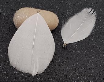 10 bronze clip 8cm white feathers