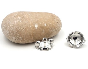 10 bails in paste for globes or rounded ears gray silver color beads