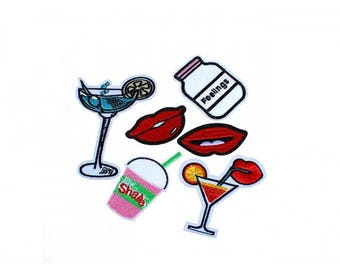 Pack of 6 badges heat-sealed patches Glam cocktail