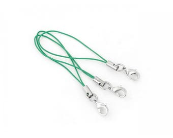 25 Straps straps 7cm with green coloured lobster clasp