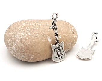 20 silver guitar charms