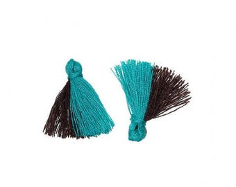 20 mini tassels two-tone Turquoise and Brown 25mm