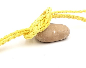 Braided suede 7mm yellow, by the yard