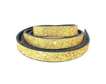 1 m leather flat gold glittery stars 10x2mm