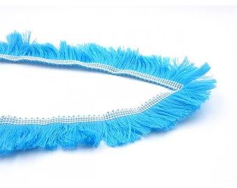 1 m Ribbon 25mm blue fringe
