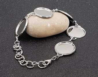 2 silver bracelets 5 holders 18mm cabochons