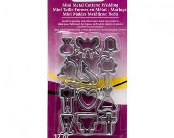 12 mini cookie cutters wedding Sculpey