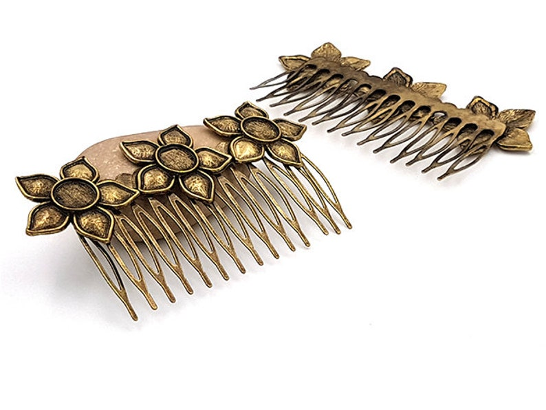 5 Combs hair Bronze 3 Cabochons 10mm