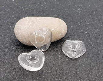 5 glass domes 21mm heart shape