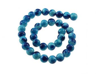 35 Jade 12mm beads blue and dark blue