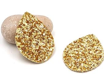 10 charms faux leather sequins glitter color gold 55mm drop shape