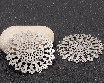 10 prints Fleuries openwork 45x44mm platinum silver