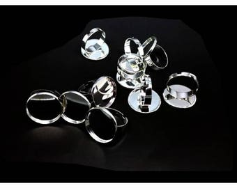 10 supports rings silver tray 20mm