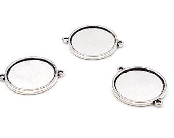 10 supports connectors cabochon double sided Tray 25mm silver matte
