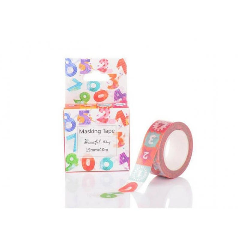 10 m masking tape roll numbers 0 to 9-15mm multicolor