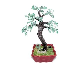 10 Inch Green Aventurine Maple Bonsai Tree with Bush Silver Bench in Ceramic Pot. Handmade Feng Shui Gem Tree Office Decor Unique Gift Idea