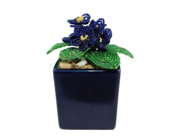 5.1 Inch Handmade Beaded Blue African Violets in Navy Flower Pot. Mini Artificial Floral Centerpiece Gift Home Office Interior Decor