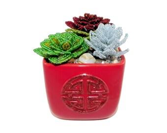 4.5 Inch Handmade Beaded Mixed Succulents in Red Ceramic Pot. Artificial Echeveria Cacti Hen Chicks Floral Centerpiece Gift Interior Decor