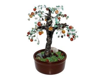 9 Inch Green Aventurine, Rutilated Quartz, Red Agate Apple Tree in Pot. Handmade Gemstone Wire Bonsai Interior Office Decor Unique Gift Idea