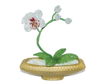 9.3 Inch Handmade Beaded White Orchid in Vintage Golden Flower Vase. Artificial Phalaenopsis Floral Centerpiece Gift Home Office Decor