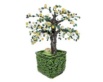 9.8 Inch Freshwater Pearls and Zoisite Lemon Tree Bonsai in Ceramic Pot. Handmade Yellow Green Gemstone Wire Tree Gift Interior Office Decor
