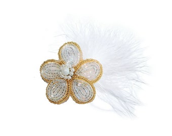 1pc Beaded Flower Hair Clip with Feather on French Barrette. Silver Gold Hair Accessory for Wedding Girl Teen Bridesmaid Christening Gift