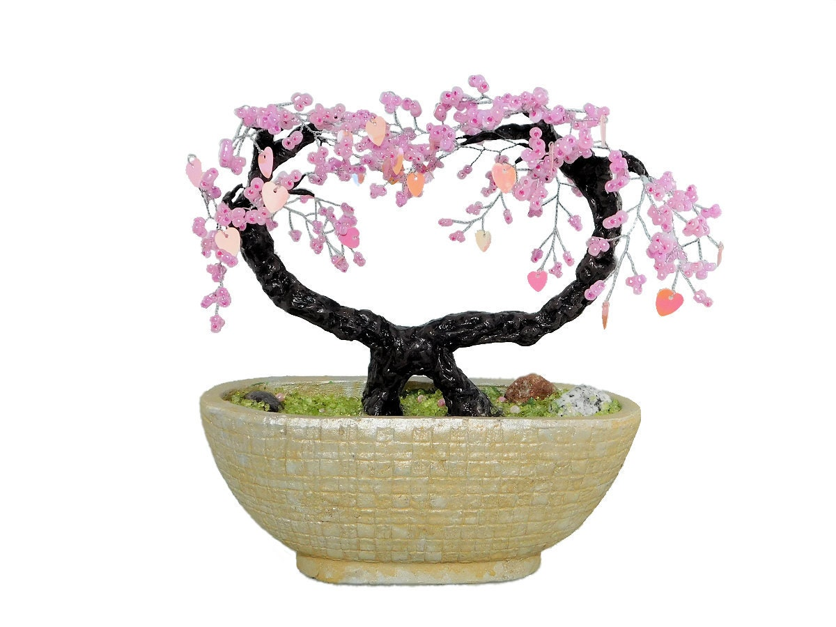 Wiring Wisteria Bonsai 21cm Beaded Cherry Blossom Trees With Hearts Sequins In Etsy