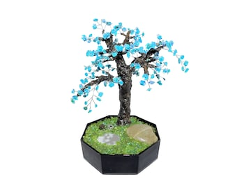9.7 Inch Magnesite Blooming Bonsai with Mirror Pond in Ceramic Pot. Handmade Blue Turquoise Gemstone Tree Unique Gift Interior Office Decor