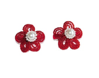 Pick a Color: 2pc Beaded Flower Hair Clips on French Barrette. Red White Blue Orange Pink Hair Accessories Girl Teen Bridesmaid Gift Idea