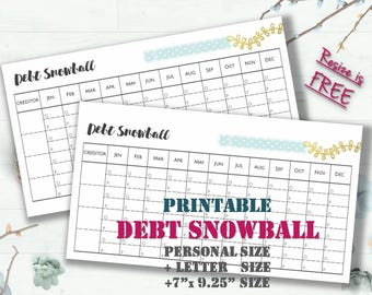 Debt snowball payoff free tracker form money management worksheet finance printables template filofax inserts _ 4 sizes _Any Re-size is FREE