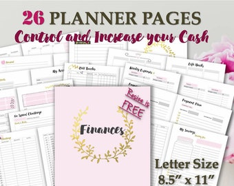 Big Happy Planner printable budget template inserts financial a4 and letter daily planner discbound book _ Letter Size _ Any Re-size is FREE
