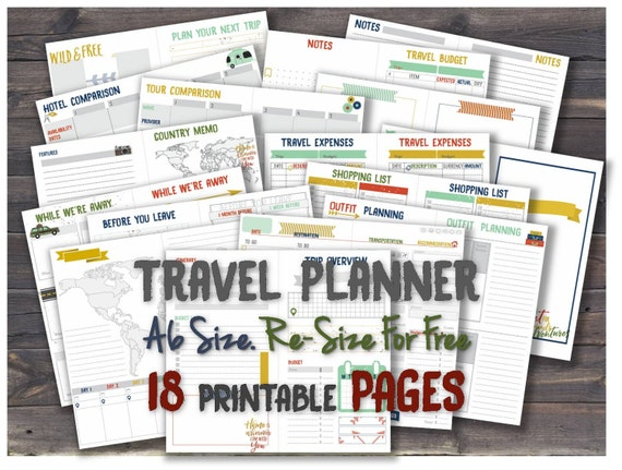 trip planner a6 inserts travelers notebook a 6 hobonichi weeks etsy