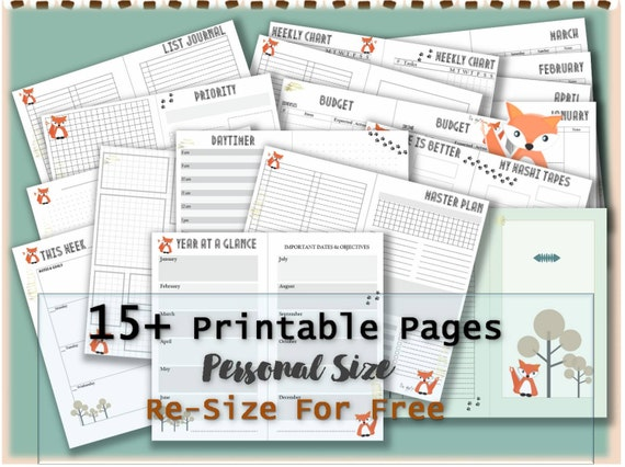 photograph relating to Free Personal Planner Printables known as Filofax specific inserts planner webpages printable package timetable semanier e-book binder refills lovable kawaii style and design fox planner _ Re-dimension is absolutely free