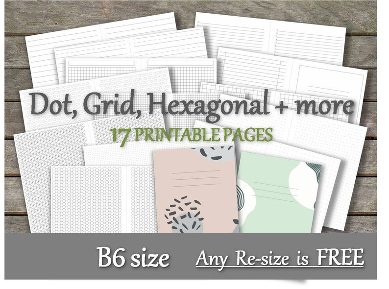 graphic about Free Printable Journal Pages Lined referred to as B6 dot grid add printable bullet magazine tn dotted protected hearted hexagonal Isometric Triangle grid and excess b6 web pages _Any Re-dimension is Free of charge