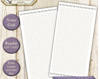 Travellers notebook printable inserts Midori style refill, mtn inserts (Chic sparrow, jendori). Lavender grid notebook page Regular size
