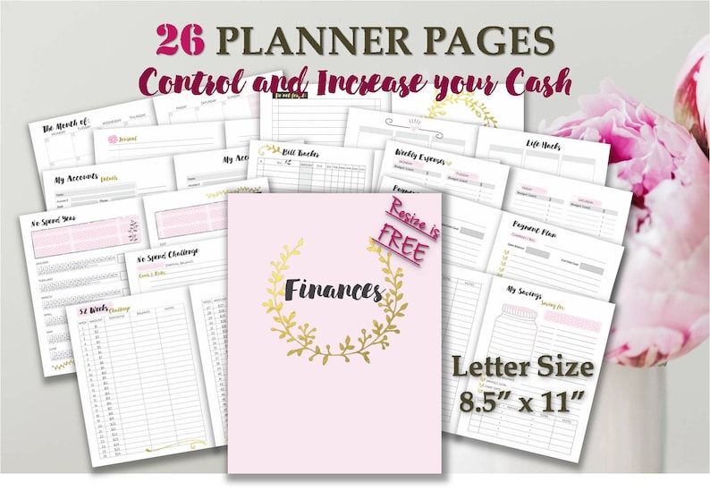 image about Free Happy Planner Printable Inserts identify Large Satisfied Planner printable spending plan template inserts money a4 and letter day by day planner discbound e-book _ Letter Dimensions _ Any Re-sizing is Cost-free