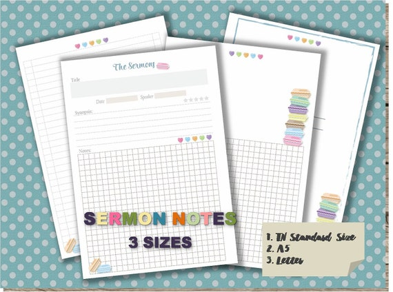 Sermon notes journal pdf template printable notebook page etsy image 0 maxwellsz