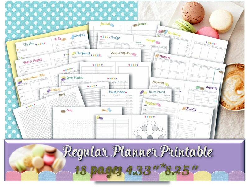 photo relating to Midori Traveler's Notebook Printable Inserts identify Midori visitors laptop computer inserts Kawaii planner Macaroon design and style every day calendar incorporate Regular monthly dimensions PRINTABLE Preset _ Resize is Totally free