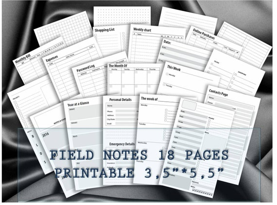 Field Notes Travelers Notebook Inserts Midori Planner Weekly Etsy
