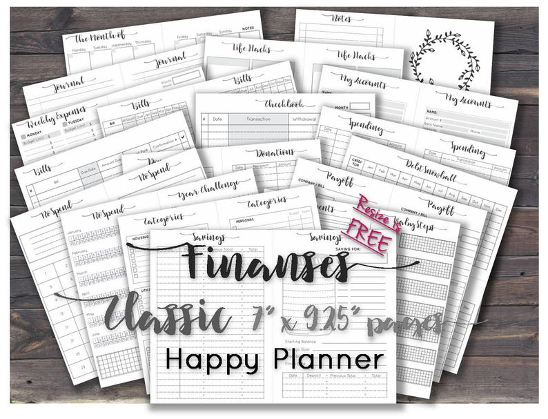 picture about Free Happy Planner Printable Inserts referred to as Pleased planner finances printable inserts clic economical binder printable webpages _ Measurement 7\