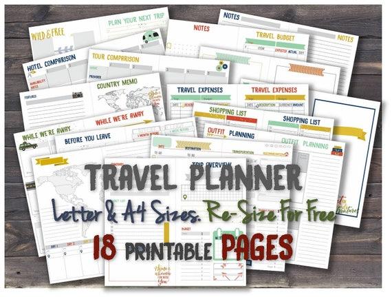 Reise Zeitschrift Einsätze Urlaub Planer A4 Ordner Countdown | Etsy