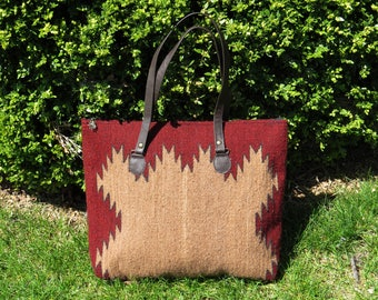 Tote bag, Handwoven tote, 100% wool , Native design, Gift for her, Hand-dyed