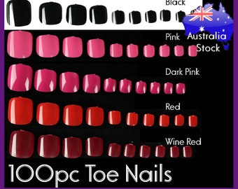 100pc Full Cover Toe Nails Colored False Fake Nails Short Pedicure Acrylic UV Gel press on nails